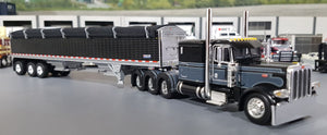 1/64 DCP PETERBILT 389 TRI DRIVE  JW BLACK WITH TRI AXLE GRAIN TRAILER NEW IN BOX