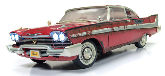 TEMP OUT OF STOCK  1/18 SCALE CHRISTINE PLYMOUTH FURY MOVIE CAR NEW IN BOX MADE BY AUTOWORLD