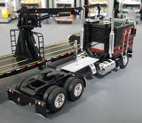 1/64 DCP / FIRST GEAR K100 KENWORTH BLACK AND RED WITH DROP DECK CRANE TRAILER 60-0695