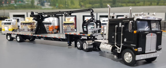 1/64 DCP / FIRST GEAR K100 KENWORTH BLACK WITH DROP DECK CRANE TRAILER 60-0694