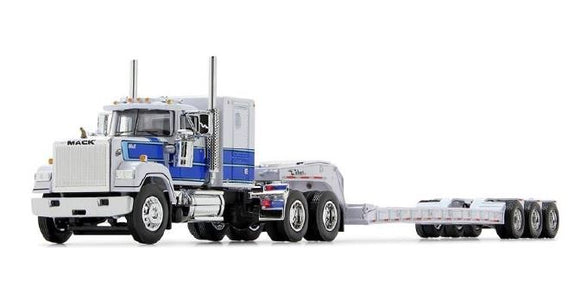 PRE ORDER DEPOSIT 1/64 SCALE MACK SUPERLINER WHITE AND BLUE WITH TRI LOWBOY TRAILER 60/0975