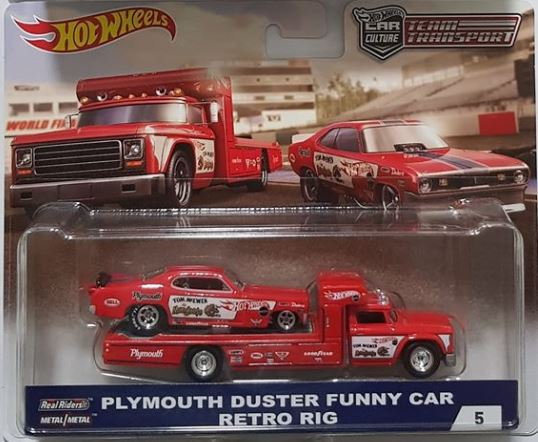 HOTWHEELS 1/64 RED RETRO RIG WITH 1972 PLYMOUTH DUSTER FUNNY CAR TRANSPORTER