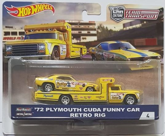 HOTWHEELS 1/64 YELLOW RETRO RIG WITH 1972 PLYMOUTH CUDA FUNNY CAR TRANSPORTER