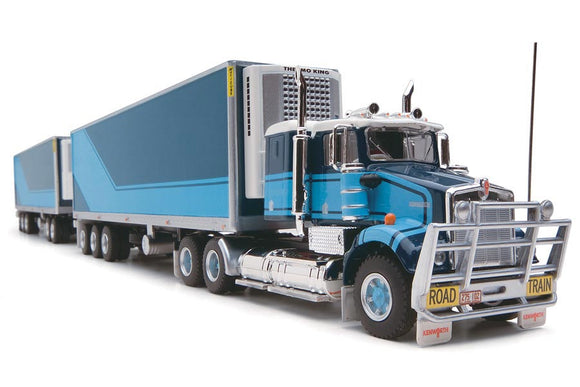 1/64 HIGHWAY REPLICAS SAR KENWORTH TWO TONE BLUE ROADTRAIN TRIPLE