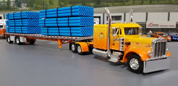 1/64 DCP PETERBILT 359 SUNRISE EXPRESS & PIPE LOADED TRAILER TRAILER NEW IN BOX