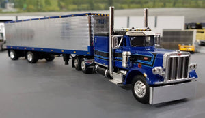 1/64 DCP PETERBILT 359 BLUE LEASING WITH VINTAGE SPREAD AXLE TRAILER NEW IN BOX