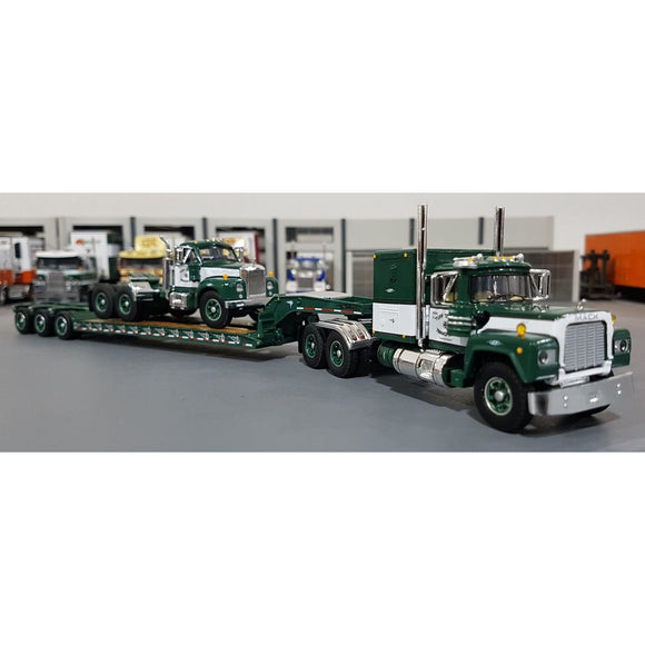 1/64 DCP / FIRST GEAR TUFFTRUCKS GREEN MACK R-MODEL LOADED WITH   B-MODEL MACK ON TRI TRAILER