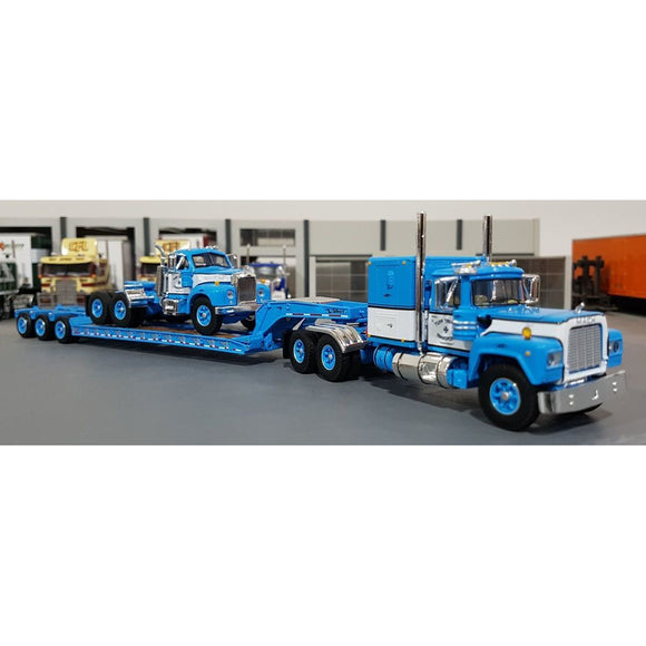1/64 DCP / FIRST GEAR TUFFTRUCKS BLUE MACK R-MODEL LOADED WITH A B-MODEL MACK ON TRI TRAILER