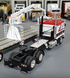 1/64 DCP / FIRST GEAR K100 KENWORTH WHITE-RED AND BLACK WITH DROP DECK CRANE TRAILER 60-0698