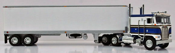 PRE ORDER: DCP / FIRST GEAR KENWORTH K100 BLUE&WHITE WITH VINTAGE 40FT BOGIE AXLE TRAILER   PRE ORDER ONLY*****60-0911