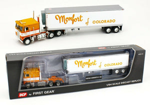 PRE ORDER: DCP / FIRST GEAR KENWORTH K100 MONFORT WITH VINTAGE 40FT BOGIE AXLE TRAILER   PRE ORDER ONLY*****60-0831