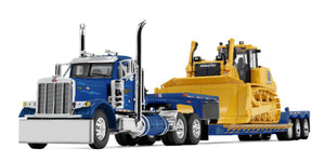 1/64 DCP/FIRST GEAR 379 PETERBILT WESTERN WITH BULLDOZER LOADED TRI AXLE TRAILER