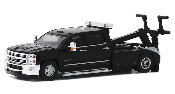 GREENLIGHT  • 2018 CHEVROLET SILVERADO 3500 DUALLY  WRECKER BLACK NEW ON CARD