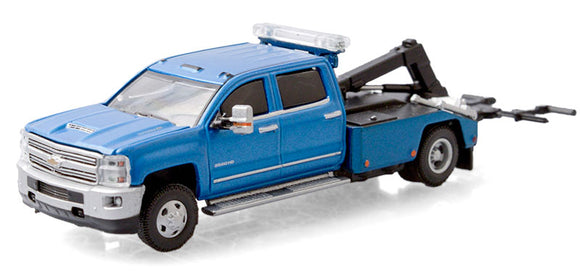 GREENLIGHT  • 2018 CHEVROLET SILVERADO 3500 DUALLY  WRECKER BLUE NEW ON CARD
