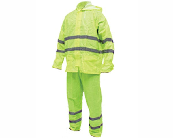 Rainsuit Rubberised Refl. Tape Lime Med