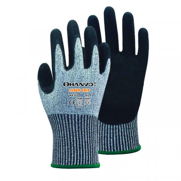 Hanvo Super Grip Cut Level 5 Nitrile Glove