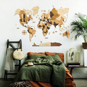 3D Wooden World Map - 03