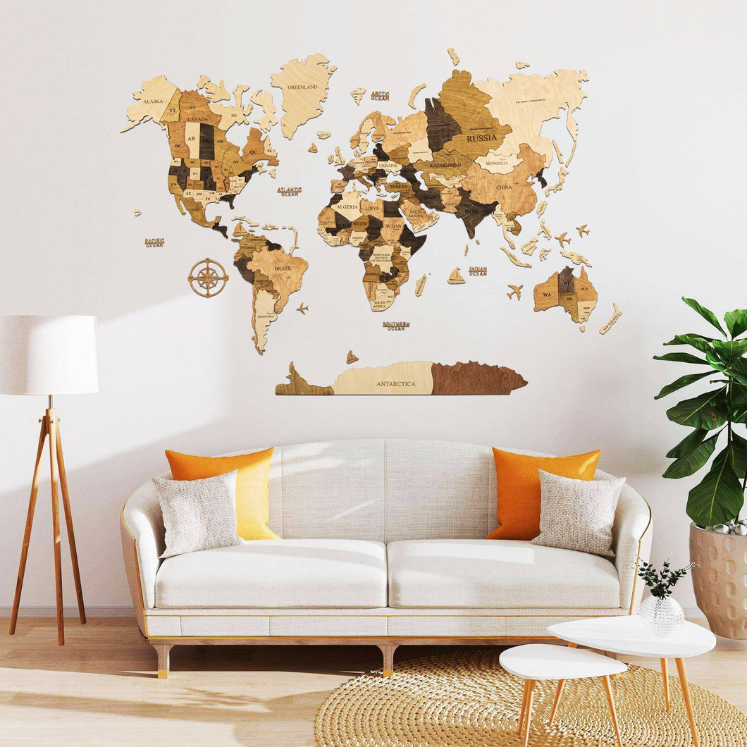 3D Wooden World Map