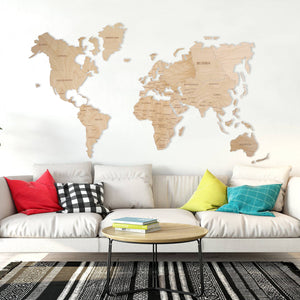 Wooden World Map - White Color