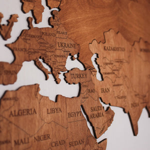 Wooden World Map - Brown Color