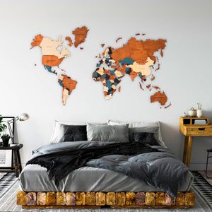 3D Wooden World Map - 02