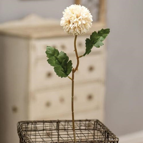 "a White Pom Pom Stem 14"" NEW! - BELLAVINTAGEHOME"