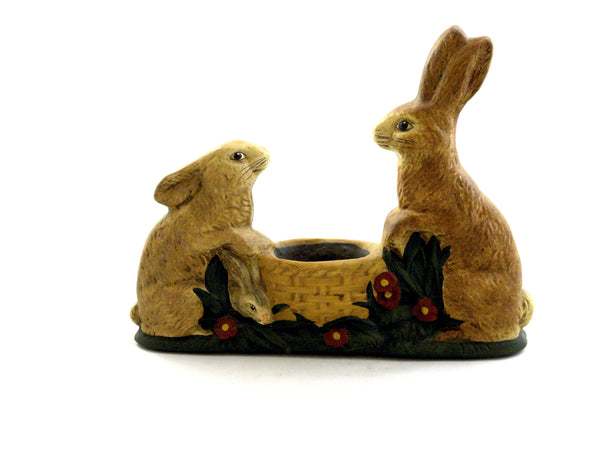 Two Rabbits with Basket- Open Edition - BELLAVINTAGEHOME