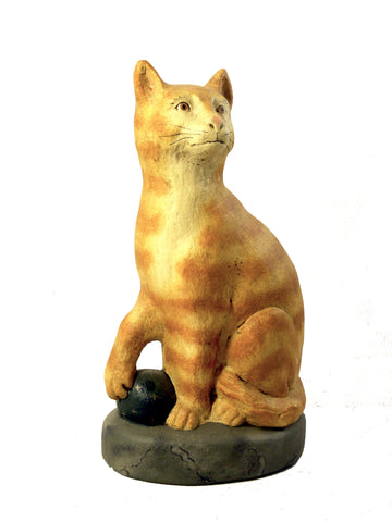 Cat Tabby with Ball- Open Edition - BELLAVINTAGEHOME
