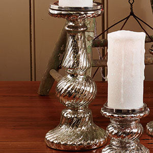 "Mercury Glass Swirl Candle Pedestal 12"" - BELLAVINTAGEHOME"