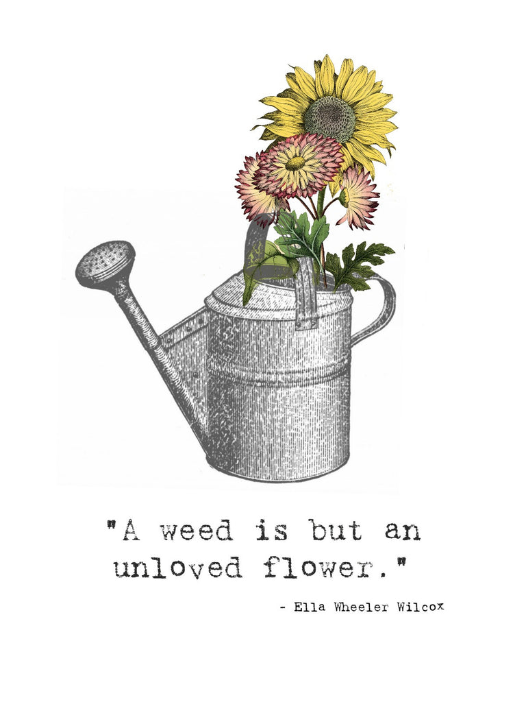A Weed is a flower....  Print,  Pillow, Note Cards, Digital Download - BELLAVINTAGEHOME