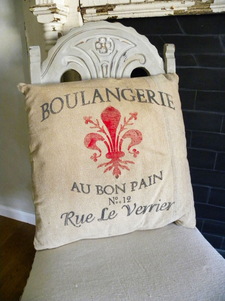 Recycled Canvas French Pillow - BELLAVINTAGEHOME