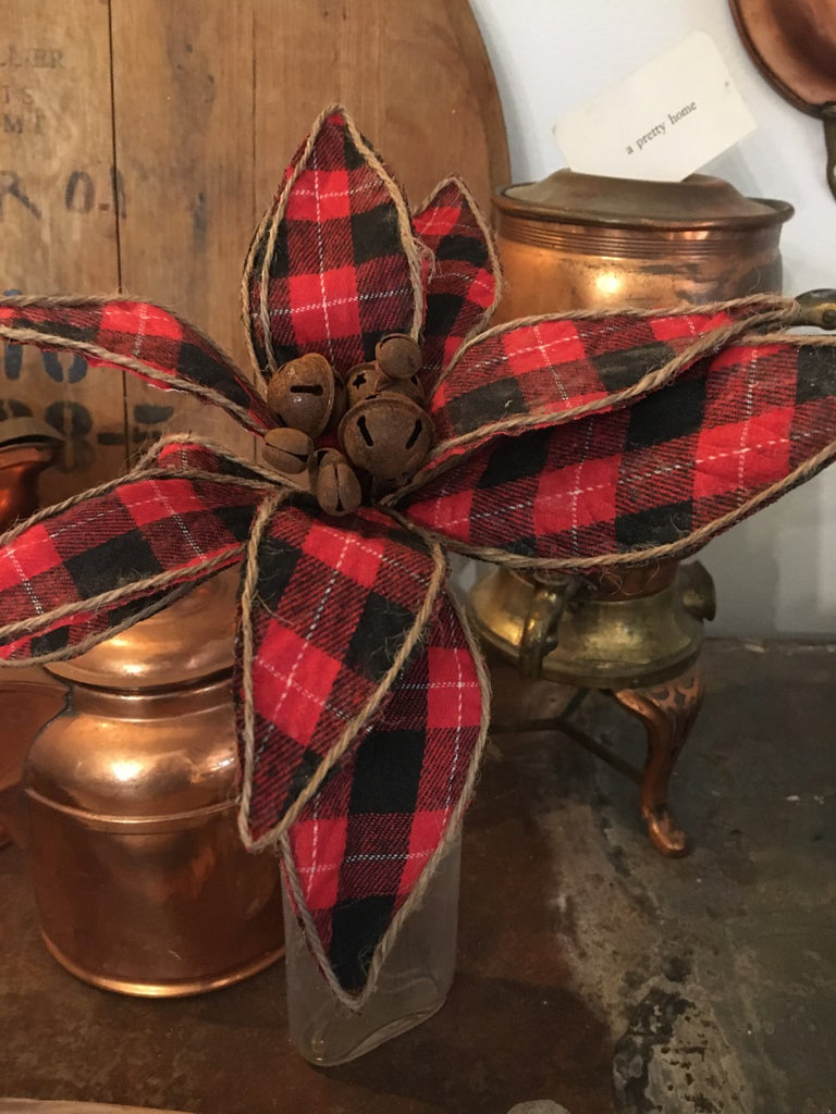 "Red Buffalo Check Poinsettia Stem 9"" - BELLAVINTAGEHOME"