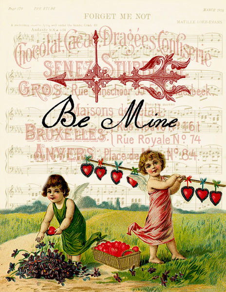 Be Mine Print , Pillow,Note Cards, Tea Towel, Digital Download - BELLAVINTAGEHOME