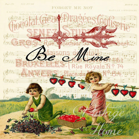 Valentine-Be Mine Print , Pillow, Note Cards, Tea Towel, Digital Download - BELLAVINTAGEHOME