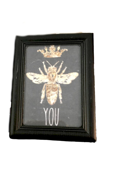 "Black Mini ""Bee"" Kind Frame with Print (More Options) - BELLAVINTAGEHOME"