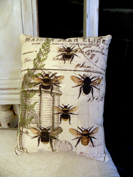 Botanical Bees and Fern Print,  Pillow, Note Cards
