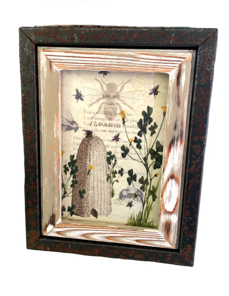Rusted Metal and  wood Frame with Print (More Options) - BELLAVINTAGEHOME