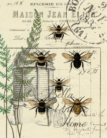 Botanical Bees and Fern Print,  Pillow, Note Cards, Tea Towel< Digital Down Load - BELLAVINTAGEHOME