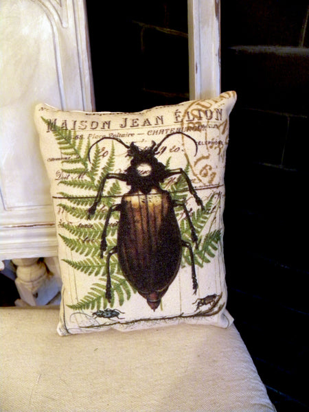 Botanical Beetle and Fern Print,  Pillow, Note Cards, Tea Towel, Digital Download - BELLAVINTAGEHOME