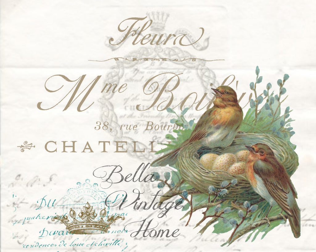 Botanical Birds with Nest Print, Pillow, Note Cards
