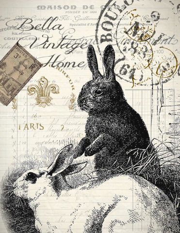 Black and White Rabbit Print, Pillow, Note Cards, Tea Towel, Digital Download - BELLAVINTAGEHOME