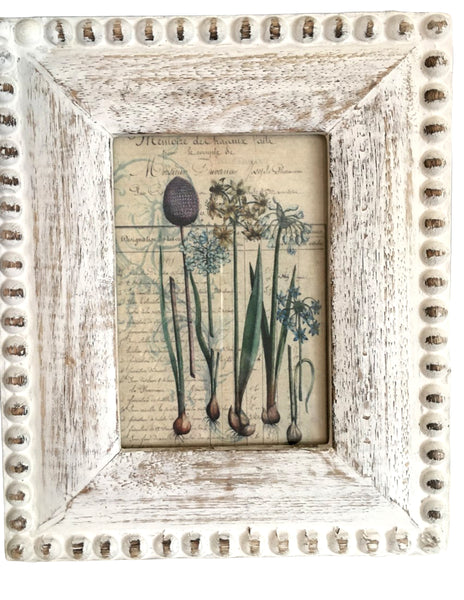 White Beaded Frame with Print - BELLAVINTAGEHOME
