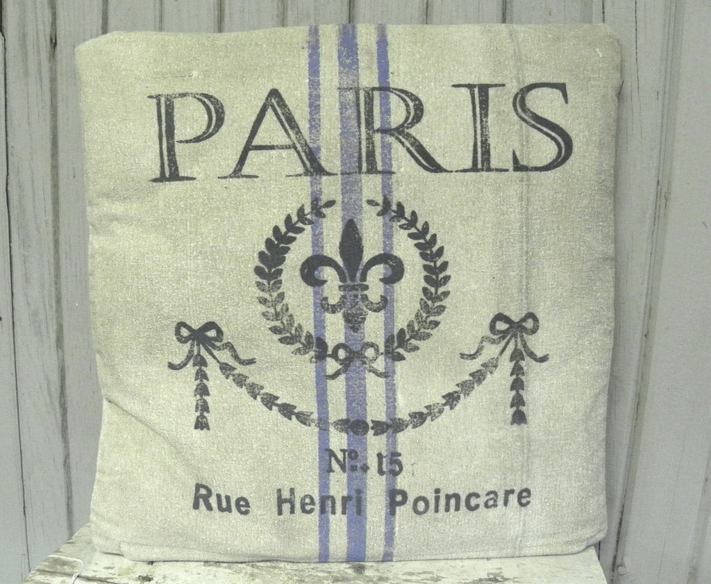 Paris Recycled Canvas French Pillow - BELLAVINTAGEHOME