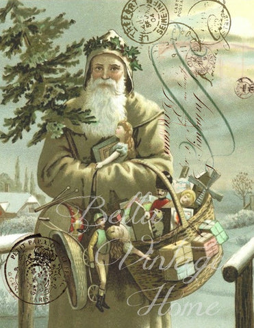 Vintage Art Collection Paper  Christmas  Woodland Taupe Santa Print,  Pillow, Note Cards, Tea Towel, Digital Download - BELLAVINTAGEHOME