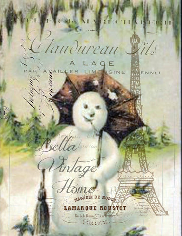 Vintage Art Collection Paper  Christmas  Woodland Snowman Print,  Pillow, Note Cards, Tea Towel - BELLAVINTAGEHOME