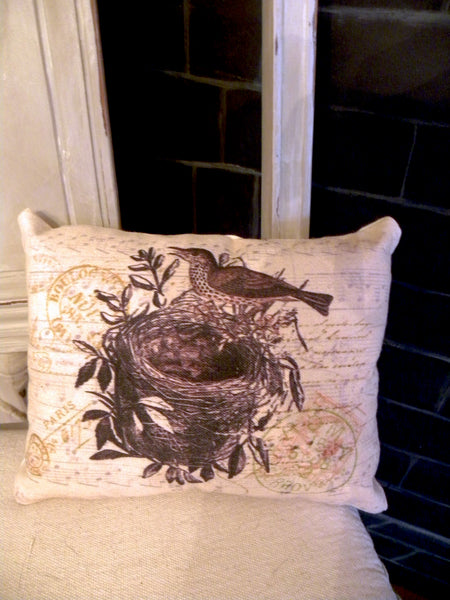 Botanical  Brown  Barn Bird with Nest Print, Pillow, Note Cards, Tea Towel, Digital Download - BELLAVINTAGEHOME