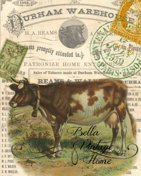 Brown Cow Print,  Pillow, Note Cards, Tea Towel, Digital Download - BELLAVINTAGEHOME