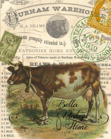 Brown Cow Print,  Pillow, Note Cards, Tea Towel - BELLAVINTAGEHOME
