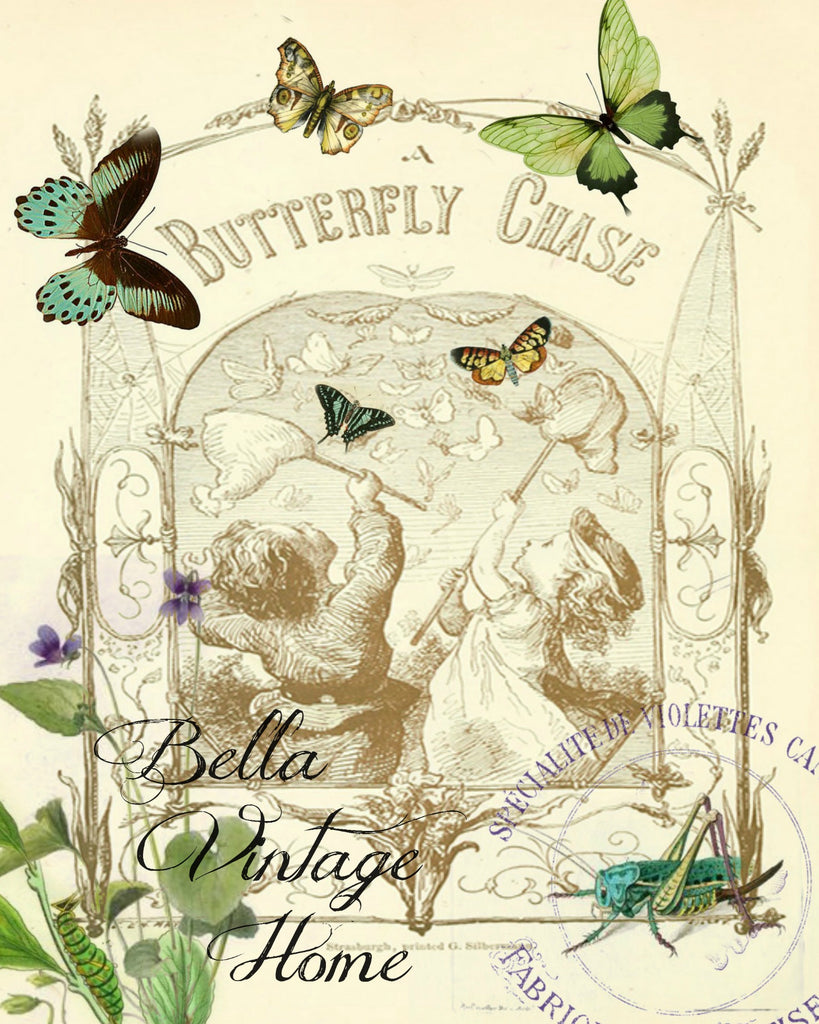 Butterfly Chase Print,  Pillow, Note Cards, Tea Towel, Digital Download - BELLAVINTAGEHOME
