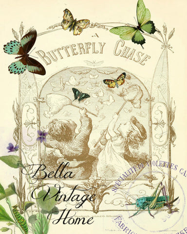 Butterfly Chase Print,  Pillow, Note Cards